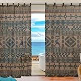 """SUABO 2PCS Ultra Luxurious Window Gauze Curtains, Polyester Washable Sheer Window Curtain Panels for Bedroom Living Room 55""""W x 78""""L - (Set of 2 Panels), Ethnic African Geometrically Elements"""