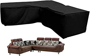 """L Shaped Garden Furniture Covers - Protective Cover for Corner Sofa with Durable Hem Cord, 210D L Shaped Outdoor Sofa Cover L Shaped Patio Couch Cover (L Shape 79""""×106""""×35.4"""")"""