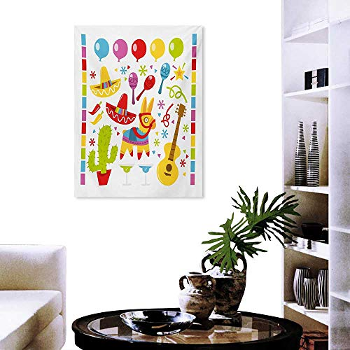 Fiesta Art-Canvas Prints Mexican Party Pattern Cactus Sombrero Musical Items and a Pinata Ethnic Inspirations Print Paintings for Home Wall Office Decor 16