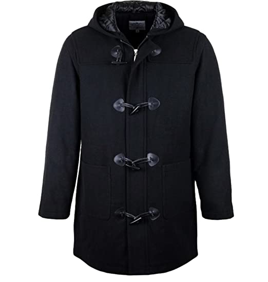 Mens Wool Duffle Coat Sizes S 3xl Black Duffel Full Length Hood Hooded Warm Winter Quilted Lined Jacket Full Zip With Toggles Smart Outdoor Top