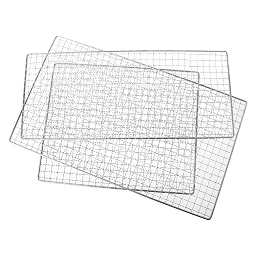 Stainless Steel Squares Holes Grill Barbecue Wire Mesh BBQ Barbecue Tool Nonstick Metal Outdoor Grilling Wire Mesh 3 Size