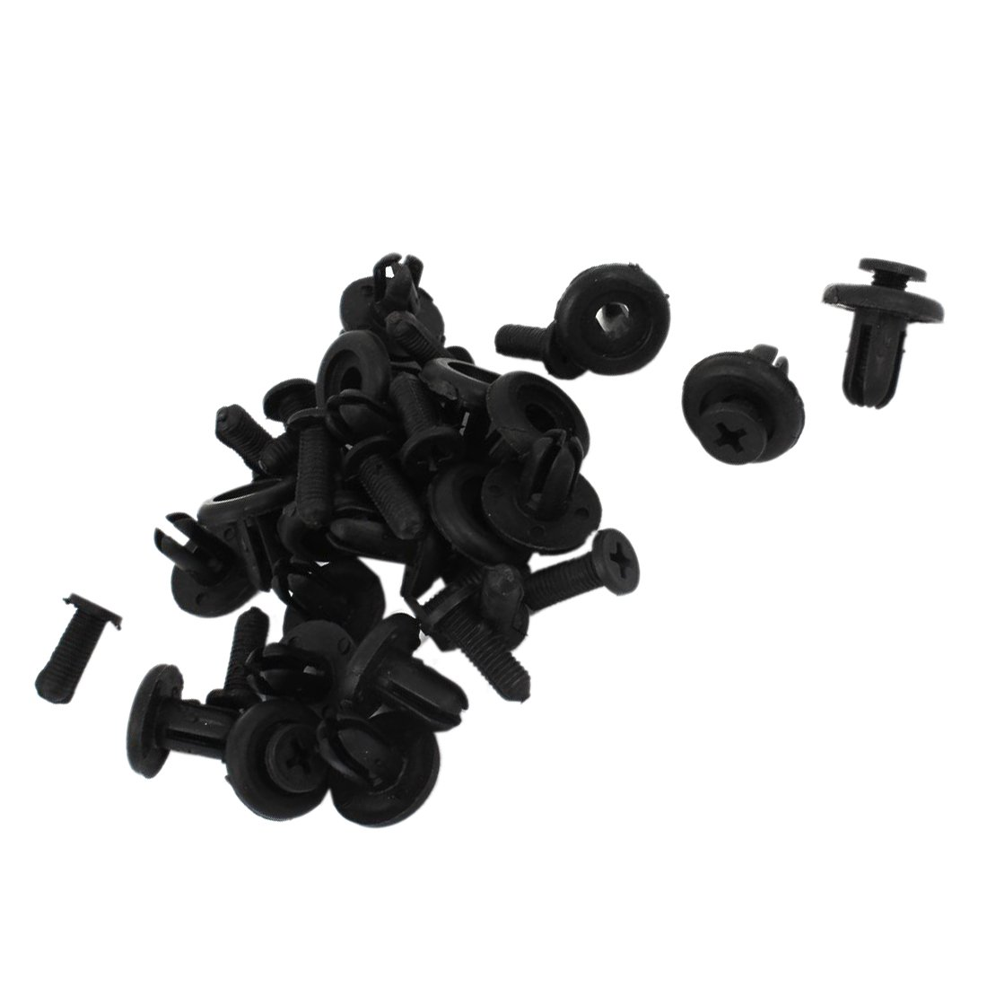 Car Bumper Fasteners - TOOGOO(R) Car Bumper Fender 7mm Hole Black Plastic Rivets Fasteners 20 Pcs by TOOGOO(R) (Image #2)
