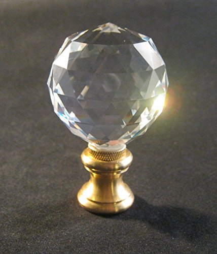 Lamp Finial-Faceted crystal ball lamp finial w/solid brass dual thread base