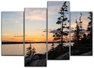 Sudoiseau Wall Art Painting Scenic Sunset Near schoodic Point in Maine Acadia National Parks and Pictures Canvas Prints Poster Oil Paintings Landscape Paint Modern Home Decor Artwork Gift, 4 Panels