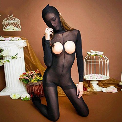 FLH Ropa Interior Atractiva Siamés Medias Abiertas Transparente Extremadamente Seductora Pantyhose Enmascarado erogeno