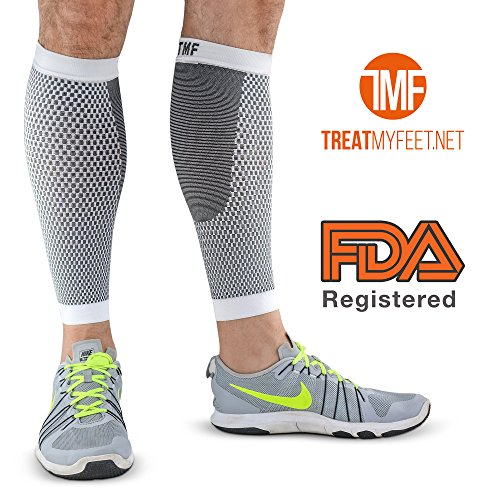 Leg & Calf Compression Sleeve (1 Pair) Shin Splint & Calf Pain Relief, Comfortable Calf Sleeves helps Improve Circulation for Runners, Nurses & Travelers. Leg Support Footless Socks by Treat My Feet