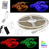 Music RGB strip light kit Magic RGB 16.4Ft/5M LED Light Strip 300 LED Lights Waterproof Flexible Strip Lights with IR Controller For Family Party, Music Concert