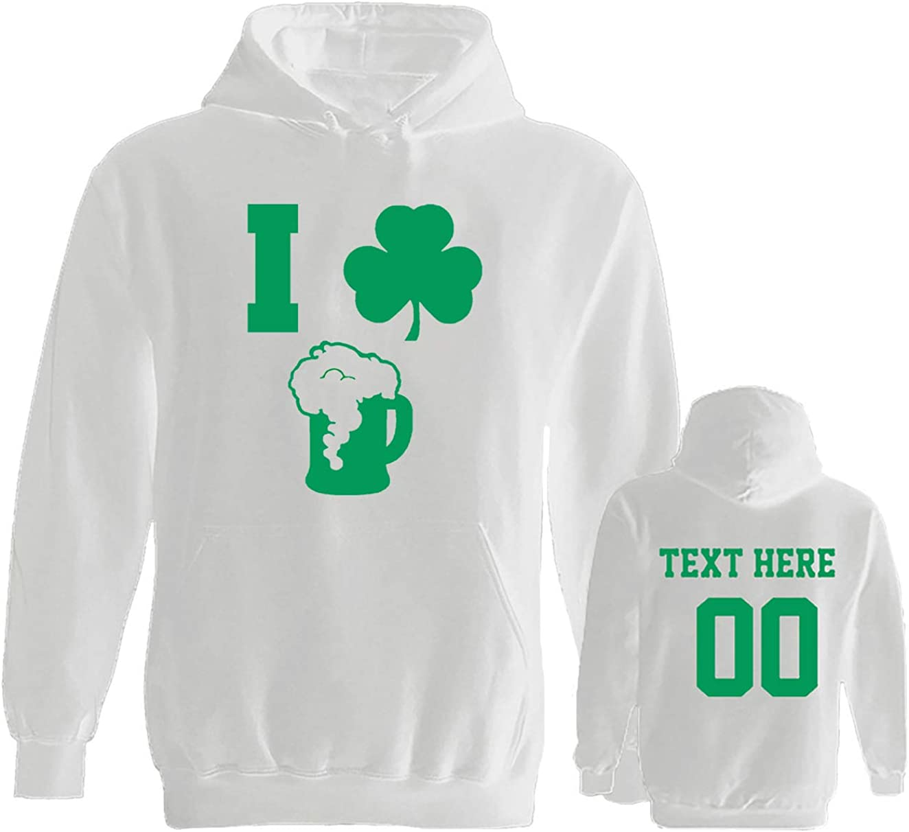 I Love Beer Clover Custom Jersey Style St Patricks Day T Shirts Saint Pattys Tee Outfits Green /& White