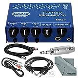 Rolls MX28 MINI-MIX VI Compact 3-Channel Stereo Line Mixer and Accessory Bundle w/ Adapter + Xpix Cables + Fibertique Cloth