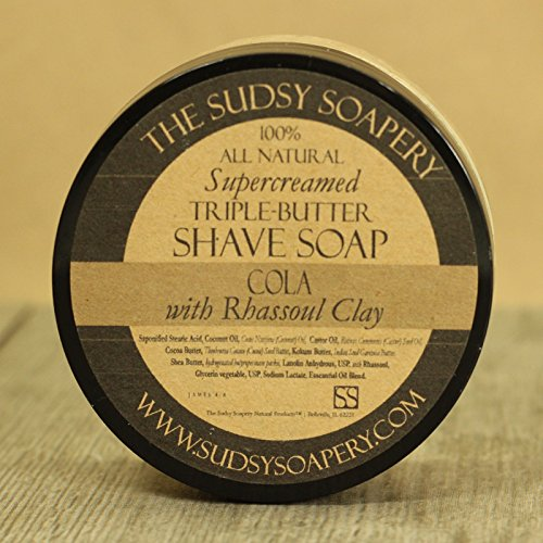 Sudsy Soapery™ Shaving Soap Triple Butter All Natural Super-Creamed Cola