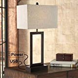 Todd Bronze Finish Metal Table Lamp with USB Port and Outlet - 360 Lighting