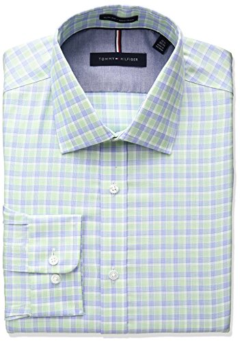 Tommy-Hilfiger-Mens-Non-Iron-Slim-Fit-Plaid-Spread-Collar-Dress-Shirt