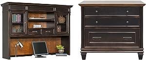 Martin Furniture Hartford Hutch, Brown - Fully Assembled & Hartford Lateral File Cabinet, Brown - Fully Assembled