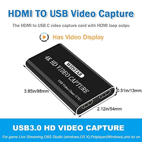 WISREMT Audio Video Capture Card, USB 3.0 HDMI Video Capture Device w/Loop-Out 4K HD 1080P 60fps Video Converter Type-C Port Live Streaming Game Recorder for Windows, Linux, OS X Operating System