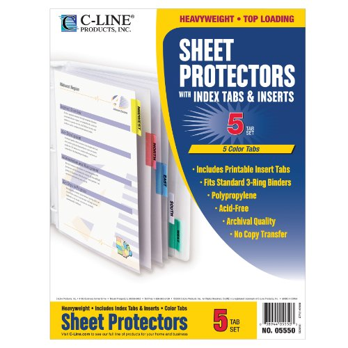 C-Line Polypropylene Sheet Protector with Index Tabs, Assorted Color Tabs, 11 x 8.5 Inches, One 5-Tab Set (05550) ()