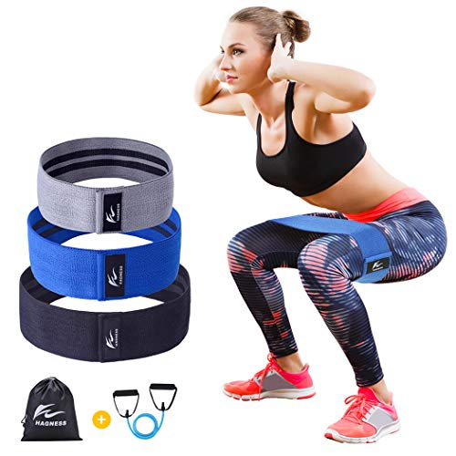 HAGNESS Resistance Bands Exercise Bands Booty Bands Wide Resistance Bands for Legs and Butt - Fabric Non Slip Workout Bands Booty Hip Bands Circle - Low Medium and Heavy Loop Exercise Bands Set of 3