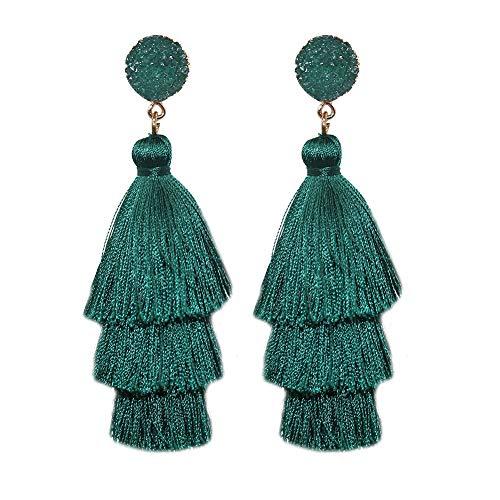 TRSCIND Tassel Earrings Colorful Layered Fringe Earrings Bohemian Dangle Tassel Drop Earrings, Multi Colors (Deep Green)