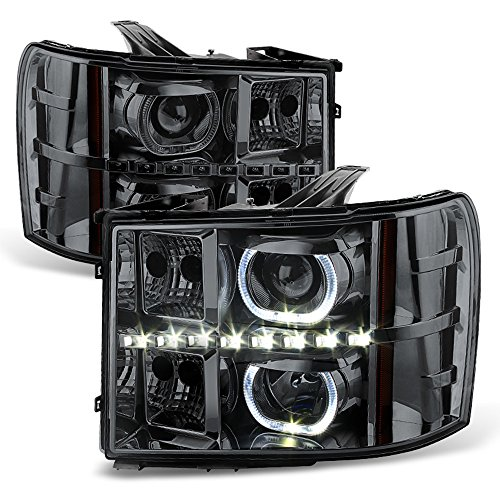ACANII - For Smoke 2007-2013 GMC Sierra 1500 2500HD 3500 HD SMD LED Halo Projector Headlights Driver + Passenger Side (Gmc Sierra Halo Projector)