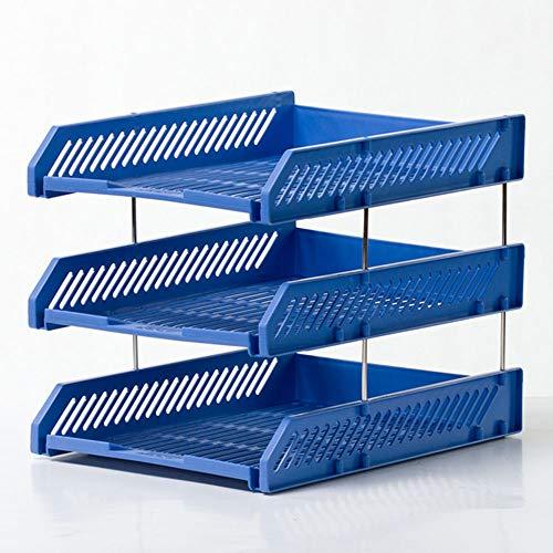 Shelf QUANFANG SHOP Three-Layer File Tray Iron Rod Bracket Desktop Item Storage Rack File Box Supplies Basket Office Supplies