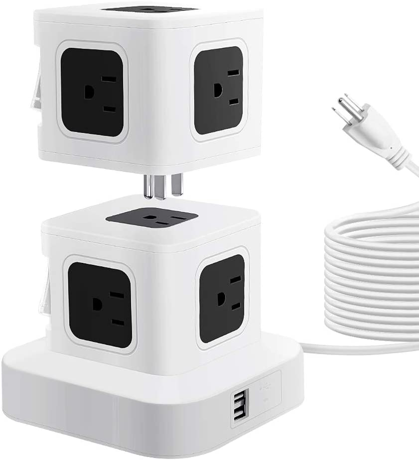 SHNITPWR Power Strip Tower with 2 USB Ports 9 Outlets Detachable Stackable Design Extend to 10 AC Outlets 2500W 10A Max Surge Protector Electric Charging Station 10ft Extension Cord for Home Office