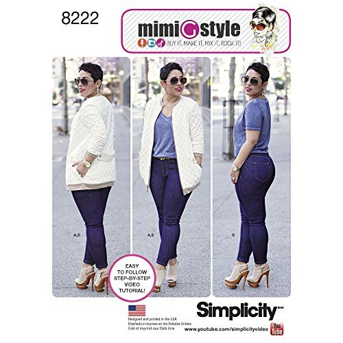 - Simplicity Pattern 8222 R5 Mimi G Bomber Jacket and Stretch Skinny Jeans, Size 14-16-18-20-22