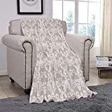 YOLIYANA Light Weight Fleece Throw Blanket/Taupe,Nature Garden Themed Pattern with Damask Imperial Tile