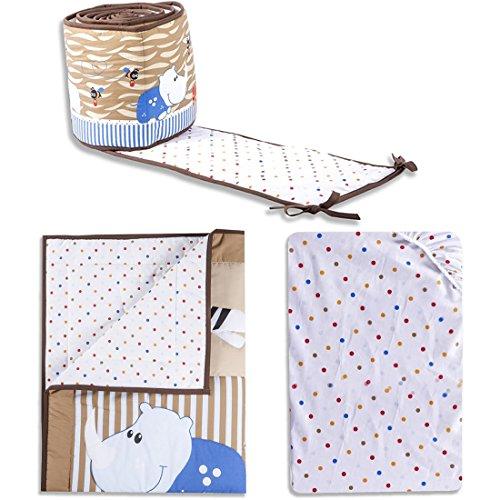 Dream On Me 3 Piece Reversible Portable Crib Set, Jungle Babies