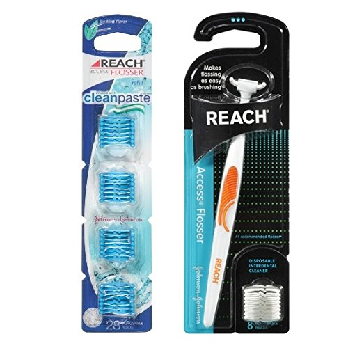 Reach Access Flosser with Bonus Set of 28 Disposable Heads, - Flosser Access