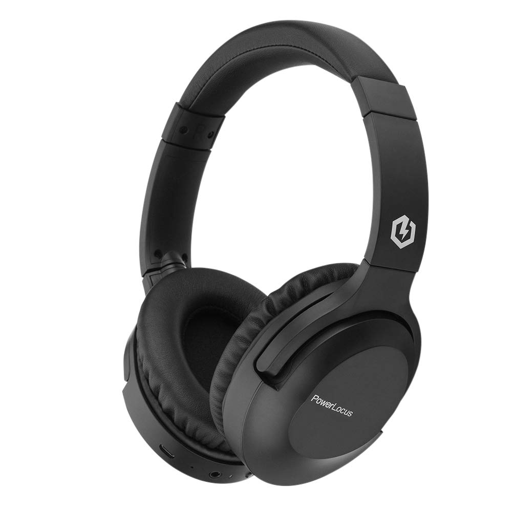 PowerLocus P4 Bluetooth Headphones Over-Ear, 30h Playtime, Over Ear Wireless Headphones w/Case, HD Stereo Headset, Wireless and Wired Headphone with Microphone CVC6.0 for Cell Phones/Tablet/TV (Black)