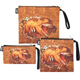 QOGiR Reusable Snack Bags Sandwich Bags Handle: Lead-free,BPA-free,PVC-free,FDA PASSED (Brown Dinosaur)
