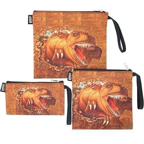 QOGiR Reusable Snack Bags and Sandwich Bags with Handle: Lead-Free,BPA-Free,PVC-Free (Brown Dinosaur)