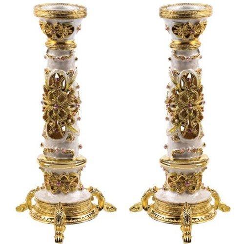 Jeweled Ivory Shabbat Candlestick Holders