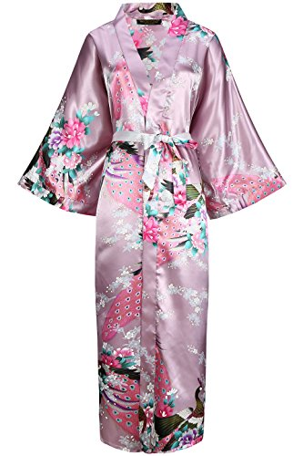 fdd2625387d BABEYOND Women's Kimono Robe Long Robes with Peacock and Blossoms Printed  Kimono Outfit (Mulberry Wine)
