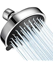 WarmSpray Shower Head High Pressure 4 inch 5 Functions Rainfall Shower Head- Adjustable Metal Swivel Ball Joint with Filter - Ultimate Shower Experience Even at Low Water Flow & Pressure