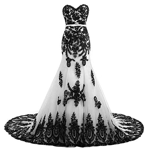 Long Mermaid Black Lace Vintage Gothic Prom Dress Wedding Evening Gown White US 12