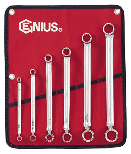 Genius Tools 6 Piece SAE Double Ended Offset Ring Wrench Set (Chrome Finish) DE-706S