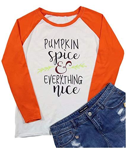 Pumpkin Spice Every Thing Nice Raglan Long Sleeve T-Shirt Women Halloween Splicing Top Tees Size XL (Orange) -