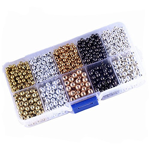 Black Round Spacer Bead - Elandy 1BOX Different Colour and Size Mix Tiny Metal Spacer Round Beads DIY Jewelry Accessory for Jewelry Making