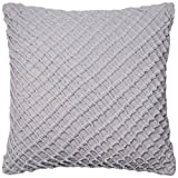 Loloi POLY SET PSETP0125GY00PIL3 100% Cotton Velvet Cover with Poly Fill Decorative Accent Pillow, 22'' x 22'', Grey