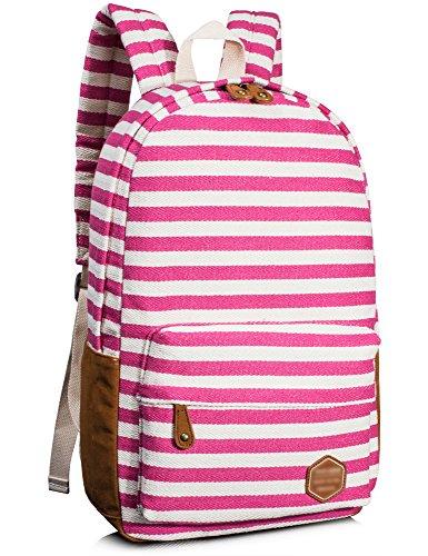 Leaper Canvas Striped Backpack School Book Bag Laptop Rucksack Casual Daypack (Girl Canvas Bag)
