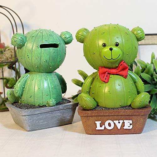 1Pcs Cactus Piggy Bank, Cartoon Cactus Plant Creative Home Decoration Piggy Bank Cactus Bear Money Boxes Money ()
