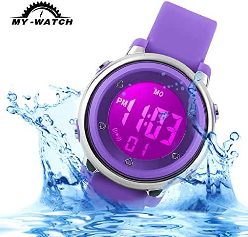 My-Watch Girls Digital Watch Sport Waterproof Kids Outdoor Stopwatch LED Luminescent Wrist Watches