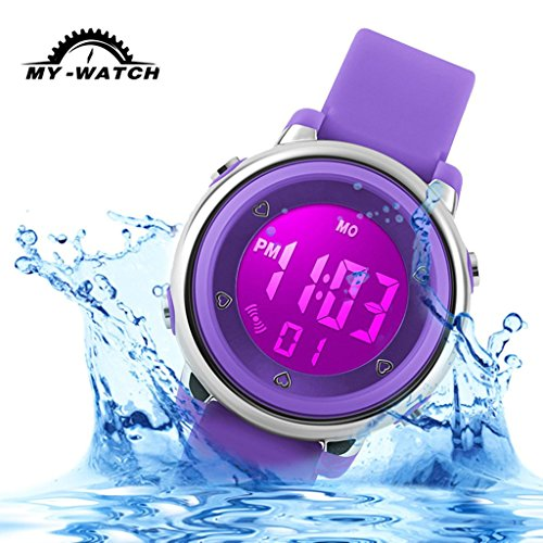 My-Watch Girls Digital Watch Sport Waterproof Kids Outdoor Stopwatch LED Luminescent Wrist (Girl Chime)