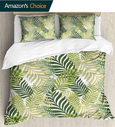 (Leaves Modern Pattern Printed Duvet Cover,Tropical Exotic Palm Tree Leaves Natural Botanical Spring Summer Contemporary Graphic Soft Microfiber Bedspread Coverlet Bedding 87