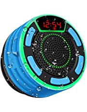 Bluetooth Speaker, moosen IPX7 Waterproof Portable Wireless Bluetooth Shower Speaker with FM Radio, LED Display, TWS and Light Show, Loud HD Sound and Deep Bass Speaker for Bathroom Pool Beach Outdoor