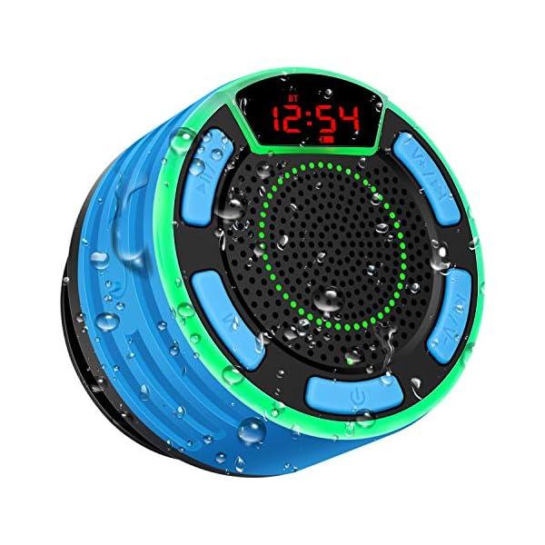 Enceinte Bluetooth, moosen IPX7 étanche Portable sans Fil Haut-Parleur Bluetooth avec FM Radio, LED Display, TWS and Light Show, Waterproof Shower Speaker pour Salle de Bains Pool Plage Outdoor 1