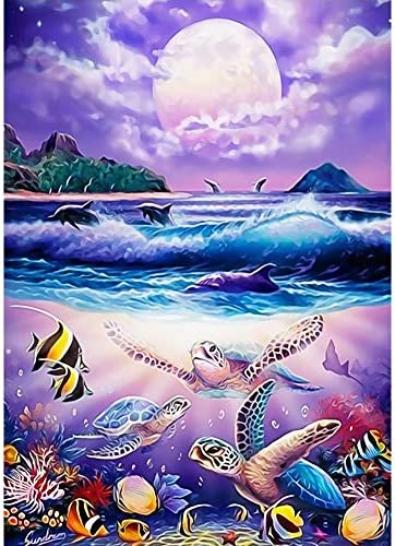 MXJSUA DIY Diamond Painting for Adult Full Square Drill Paint with Diamonds Kits 5D Art for Wall Decor The Sea Turtles 40x50cm/16x20inch