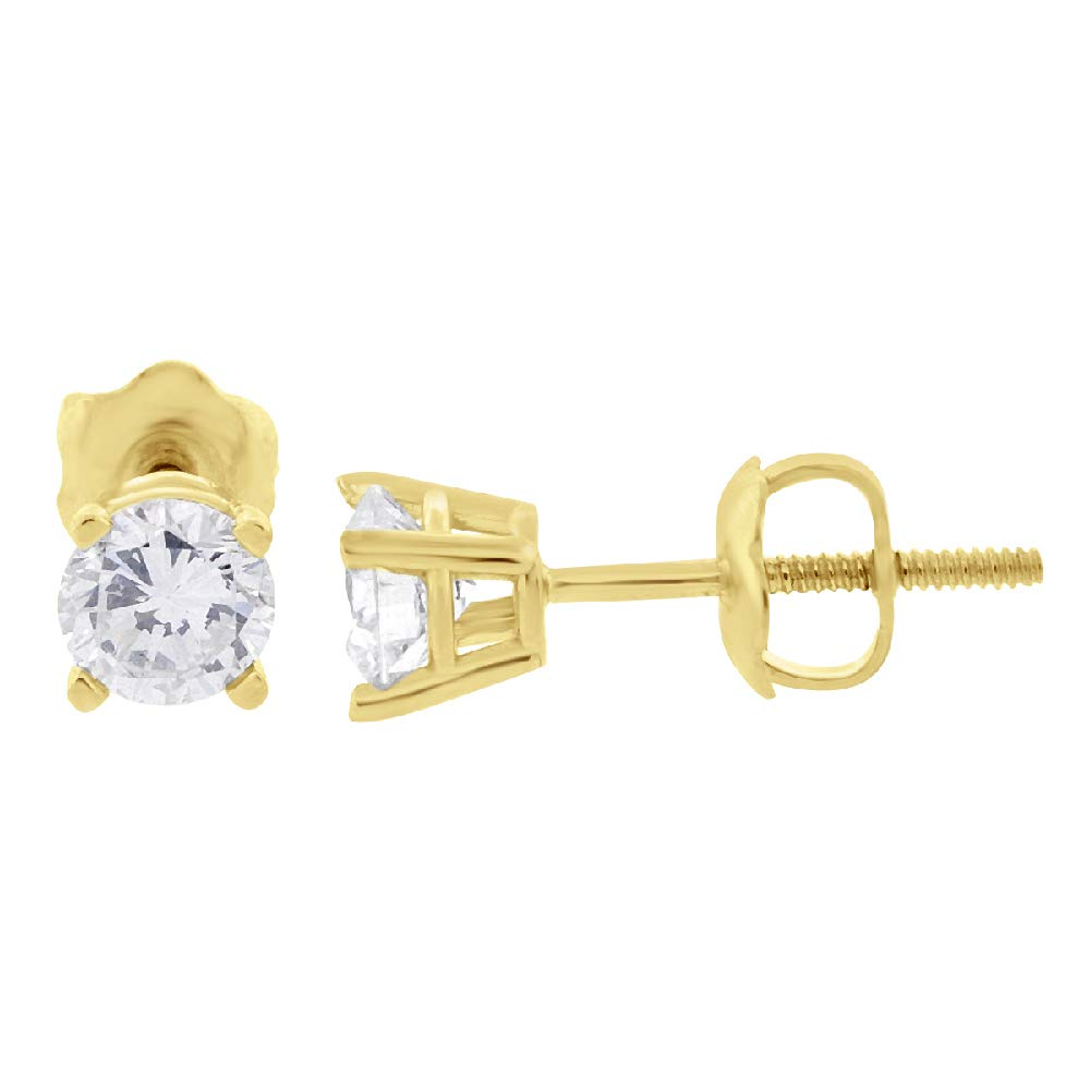 Extra-Ordinary Quality Glitz Design GD1130 G,SI 14K Gold Diamond Stud Earrings Round Brilliant Earth-mined