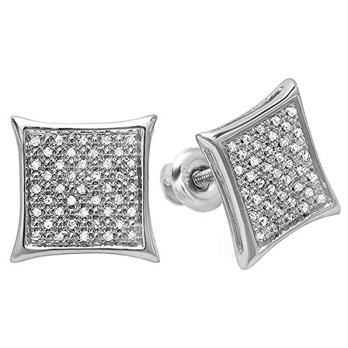 Dazzlingrock Collection 0.20 Carat (ctw) 10K Real White Diamond Kite Shape Men's Hip Hop Iced Micro Pave Stud Earrings 1/5 CT, White Gold