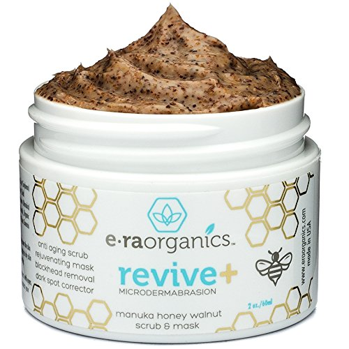 Microdermabrasion Facial Scrub & Face Exfoliator - Natural Exfoliating Face Mask with Manuka Honey & Walnut - Moisturizing Facial Exfoliant for Dull Dry Skin Care, Wrinkles, Acne & More Era-Organics from Era Organics